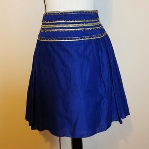 Badgley Mischka Blue Beaded A-Line Skirt sz 6